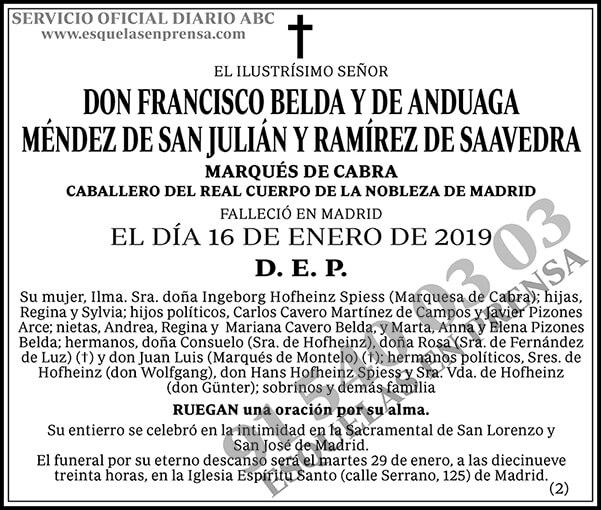 Francisco Belda y de Anduaga Méndez de San Julián y Ramírez de Saavedra