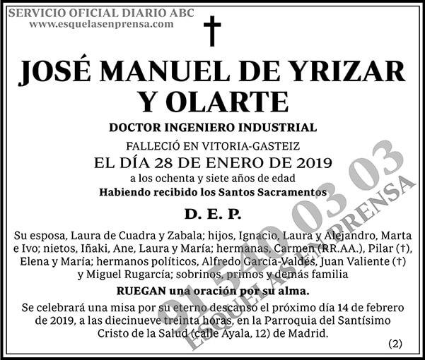 José Manuel de Yrizar y Olarte