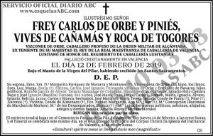 Frey Carlos de Orbe y Piniés Vives de Cañamás y Roca de Togores