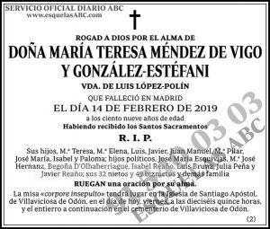 María Teresa Méndez de Vigo y González-Estéfani