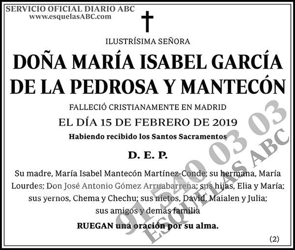 María Isabel García de la Pedrosa y Mantecón