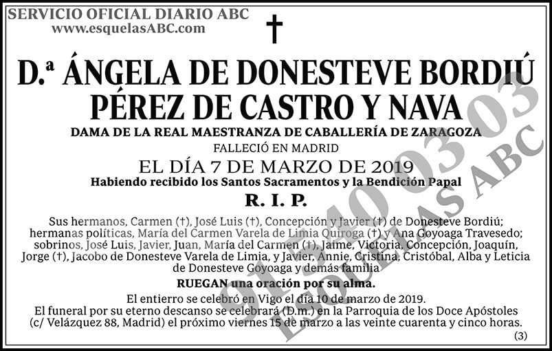 Ángela de Donesteve Bordiú Pérez de Castro y Nava