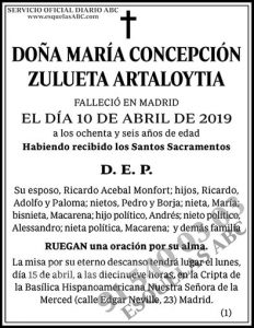 María Concepción Zulueta Artaloytia