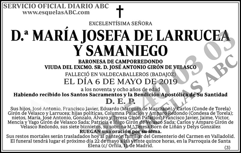 María Josefa de Larrucea y Samaniego