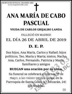 Ana María de Cabo Pascual