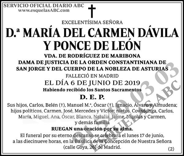 María del Carmen Dávila y Ponce de León