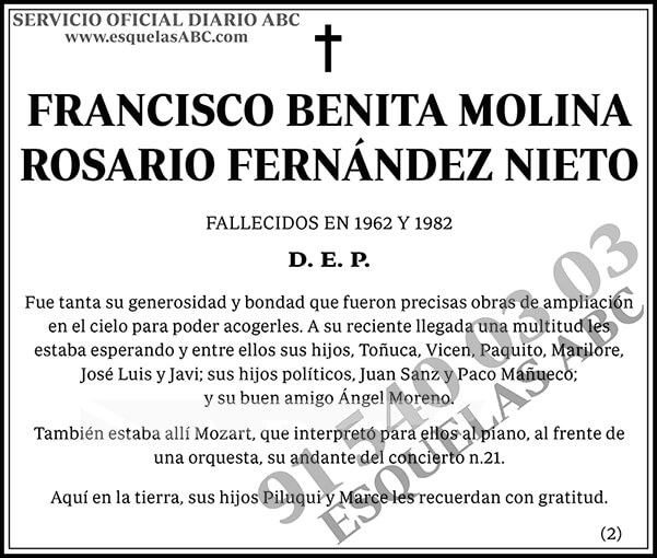 Francisco Benita Molina Rosario Fernández Nieto