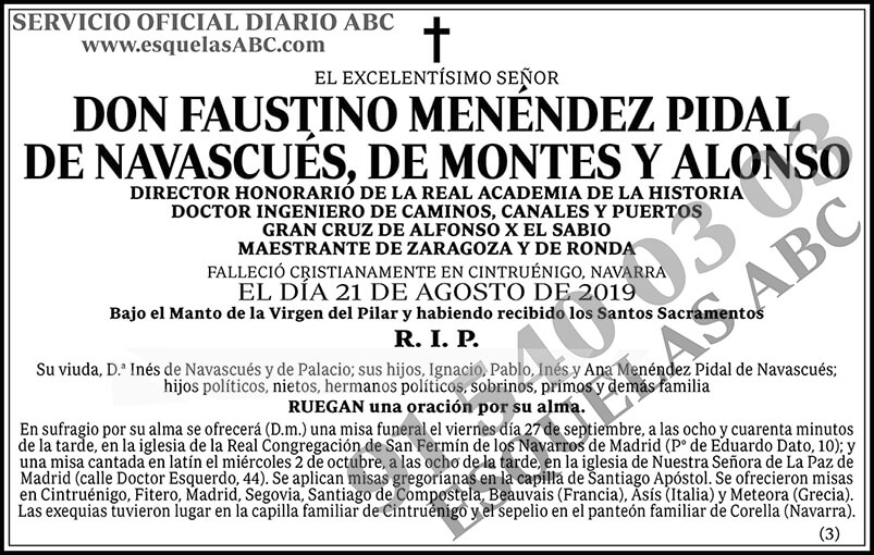 Faustino Menéndez Pidal de Navascués, de Montes y Alonso