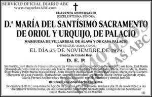 María del Santísimo Sacramento de Oriol y Urquijo de Palacio