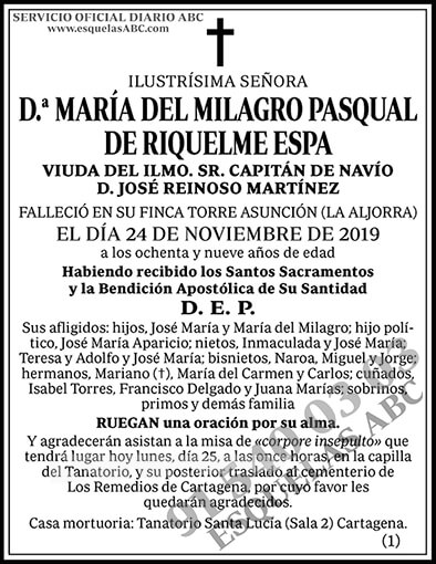 María del Milagro Pasqual de Riquelme Espa