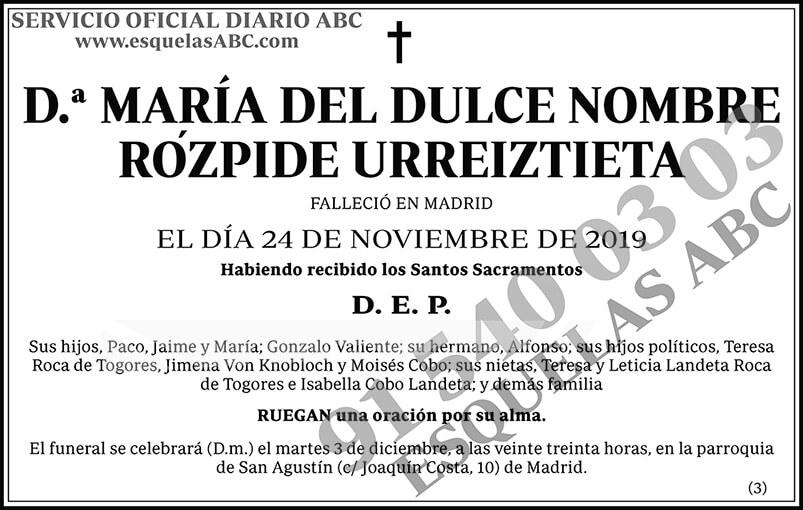 María del Dulce Nombre Rózpide Urreiztieta