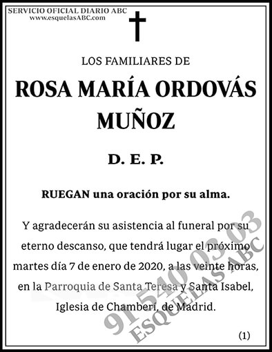 Rosa María Ordovás Muñoz
